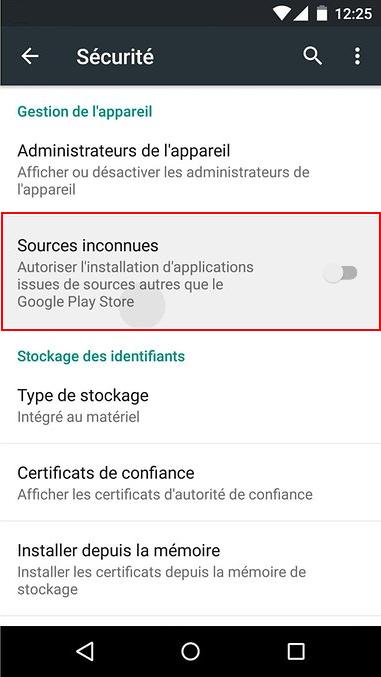 Paramètres / Sécurité / Sources inconnues sur Android 5.5 et 6.0