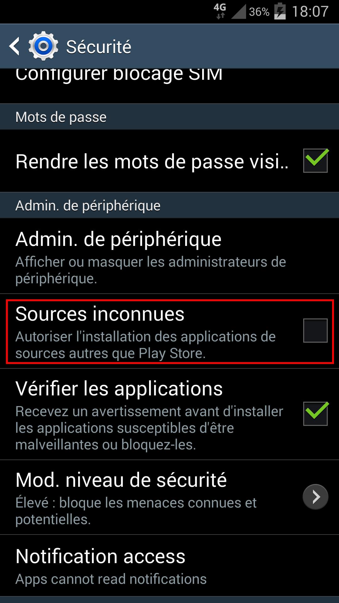 Paramètres / Sécurité / Sources inconnues sur Android 4.4 et surcouche Samsung TouchWiz